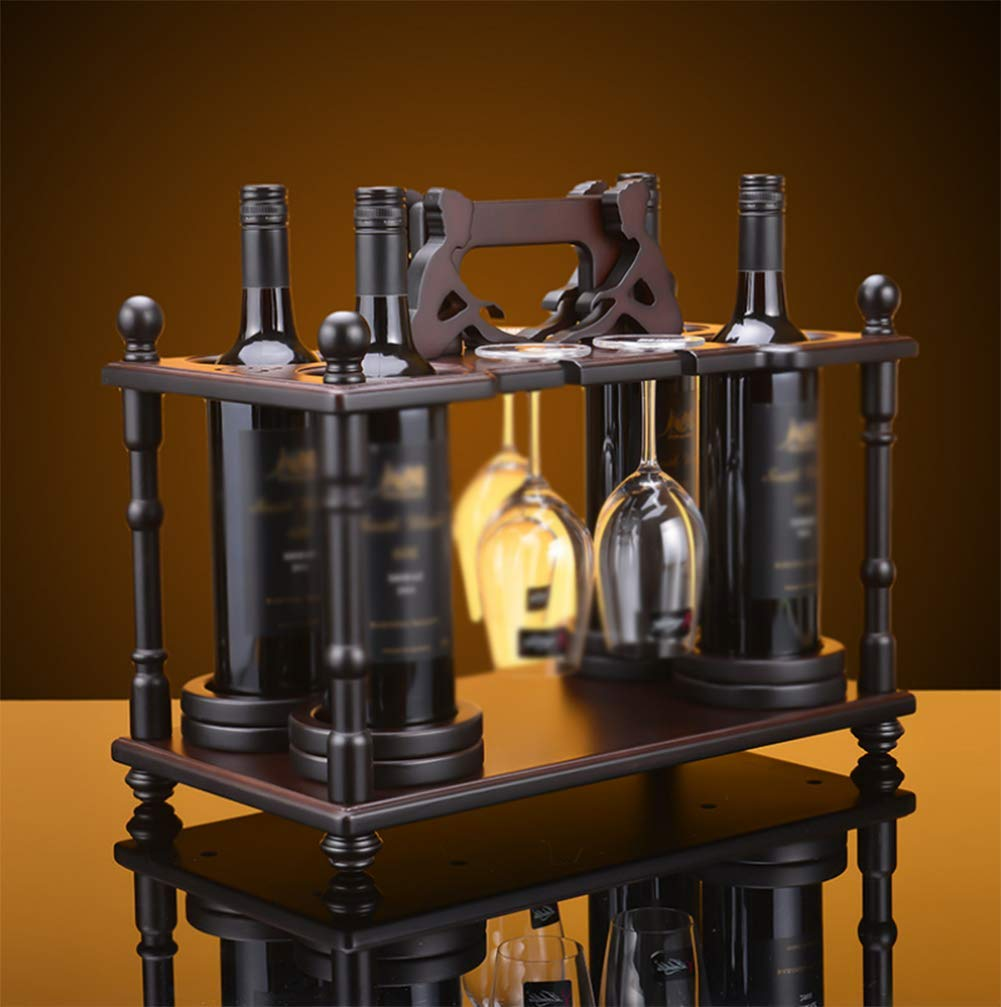 QGGL Estantería de Vino Mesa de Comedor Vitrina Decoración Artesanal De Madera Regalo Creativo Decoración hogareña Producto de decoración 45  24  36cm