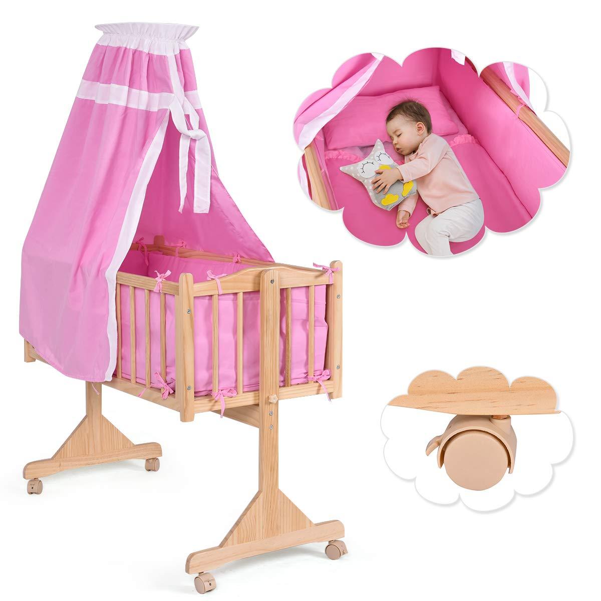 COSTWAY Stubenwagen Babywiege Schaukelwiege Babybett Holz Insekenschutz Matratze 3 Farben(Rosa) product image
