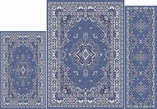 Home Dynamix Area Rugs - Ariana Collection 3-Piece Living Room Rug Set - Ultra Soft & Super Durable Home Décor - 7069-310 Country Blue