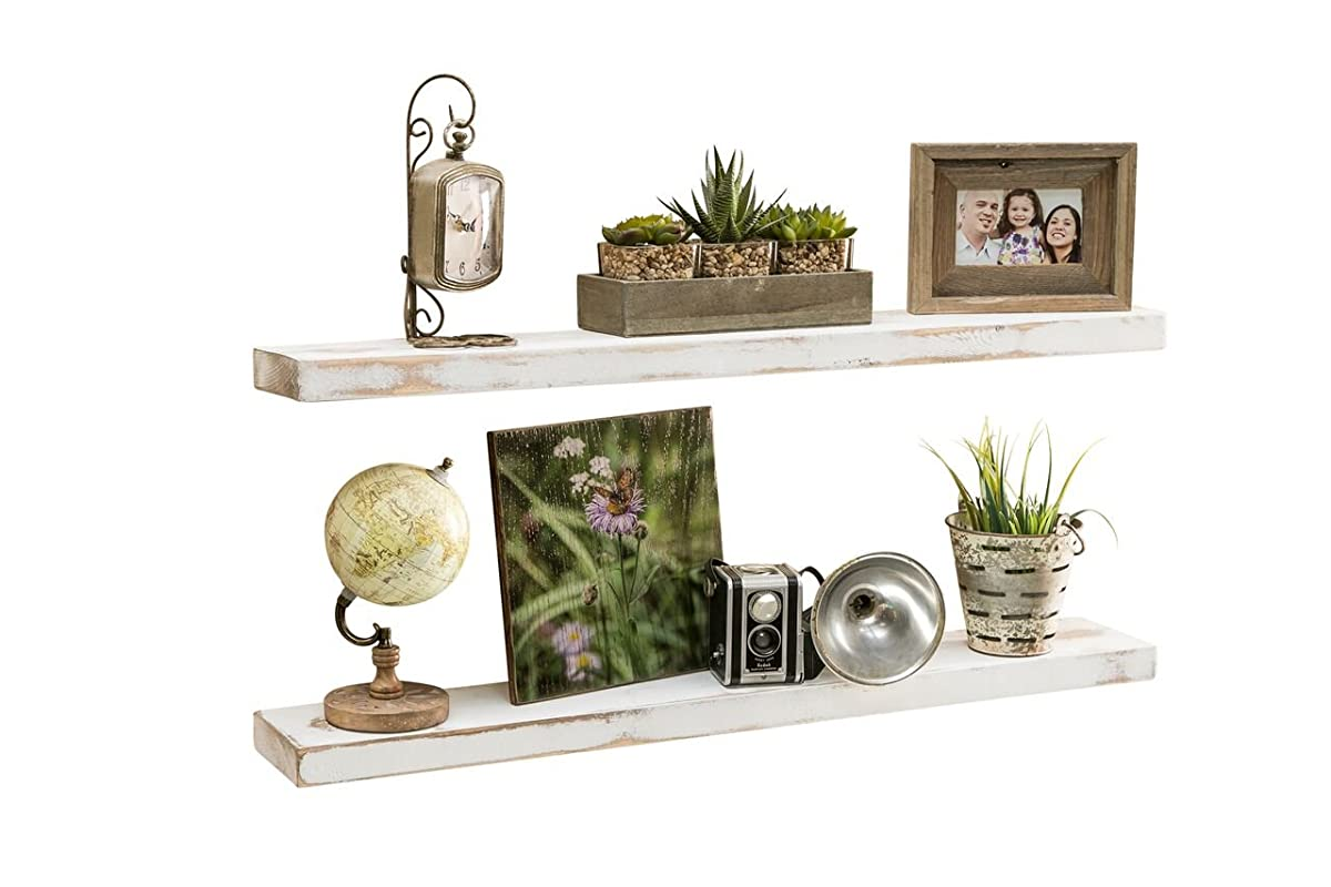 del Hutson Designs-Rustic Pine Floating Shelves (White, 36 Inch)