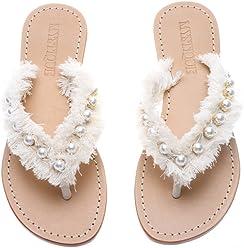 df0d873af2924 Mystique Original Genuine Leather Handmade Women s White   Imitation Pearl Thong  Flip Flop Bridal Sandals