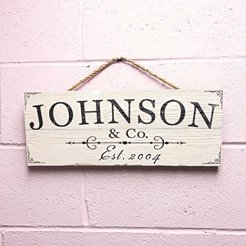 Personalized Plaque House (Artblox Personalized Rustic Family Wood Sign Home Decor - Custom Last Name and Established Year, Real Barn Wood Farmhouse Style Wooden Wall Art Country Pallet Plaque 7x18)
