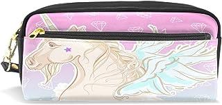 Trousse à crayons, Licorne avec ailes Imprimé Voyage Maquillage Pouch Grande capacité étanche Cuir 2compartiments pour filles garçons femmes Hommes