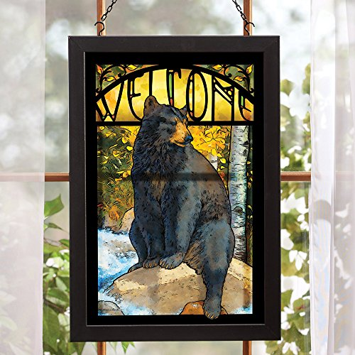 Black Bear Stained Glass Lodge Wall Art - Cabin Decor