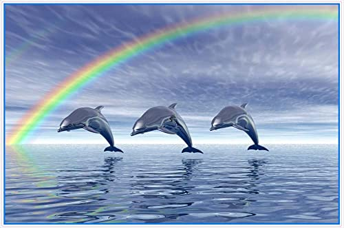 Mystical Trio of Dolphins Leaping with Rainbow – Vinyl Stained Glass Film, Static Cling Window Decal
