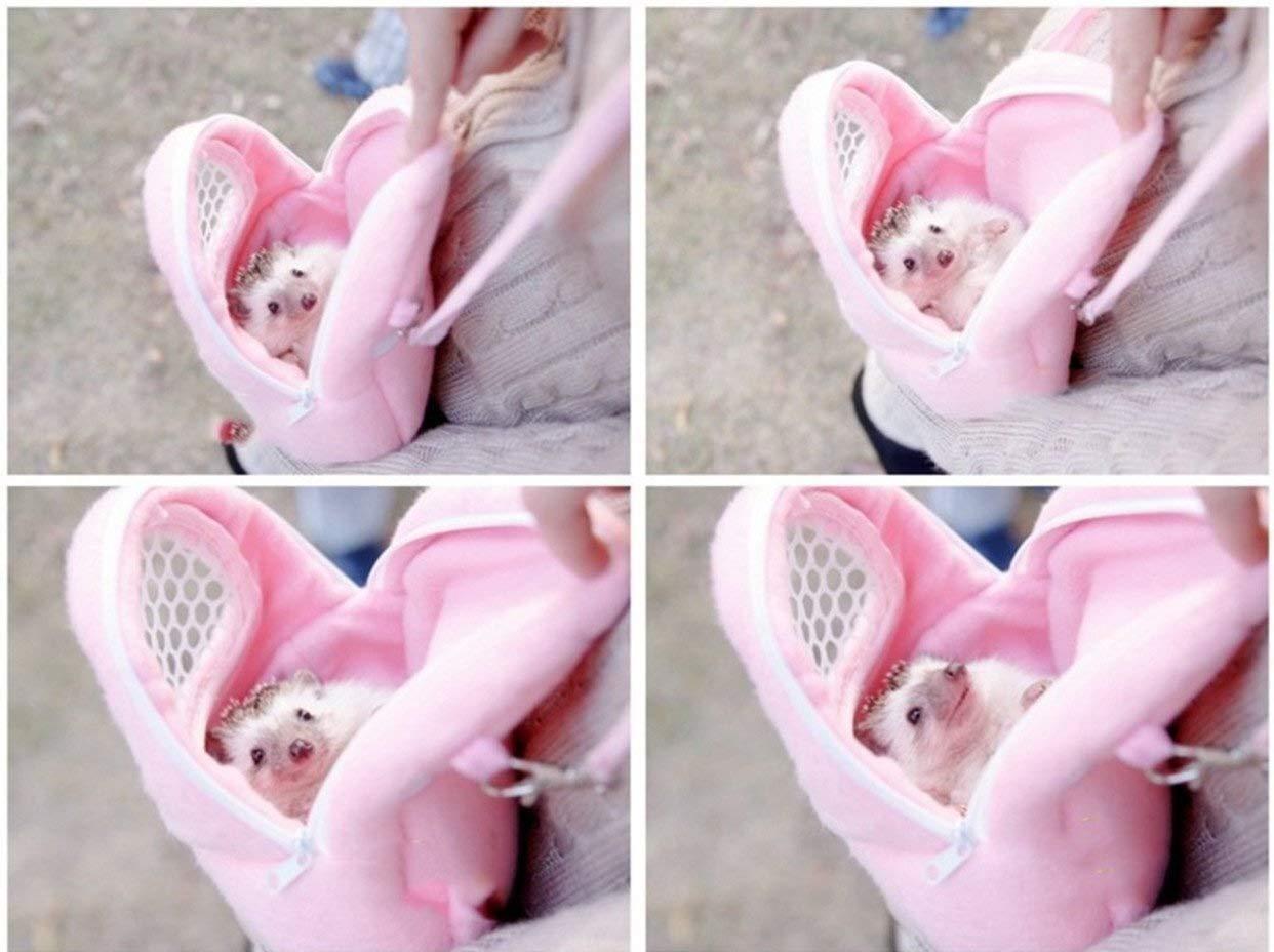 Pink-M Cuitan Transport/ín Port/átil para Mascotas 1 UNIDS Malla Blanca Port/átil Africana Hedgehog Hamster Respirable Perro Mascota Bolsas de Viaje Bolsos Cachorro Gato Mochila de Viaje