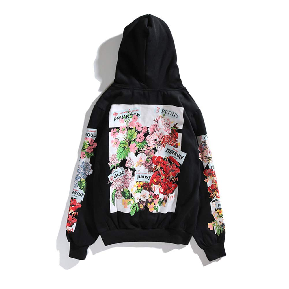 Imzoeyff Fashion Men & 039; S Damens & 039; S Hoodies Hooded Sweaters Floral Pattern Sweater Hoodies Sets of Heads Couples Street Cherry Loose Sweater Wild, schwarz
