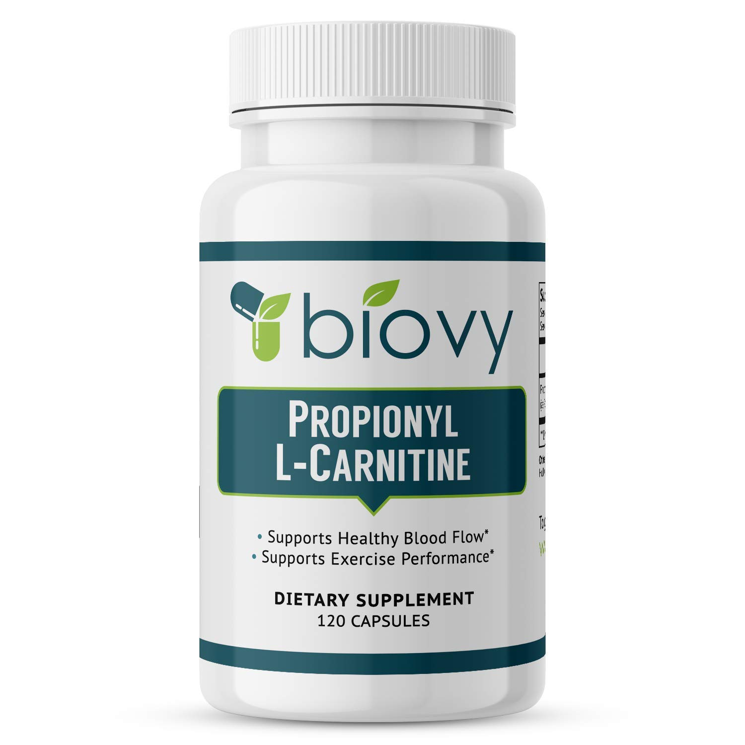 High Absorption Propionyl-L-Carnitine (PLCAR) by Biovy™ - No Artificial Fillers - Effective Propionyl L Carnitine HCL Supplement to Support Blood Circulation - 120 Capsules