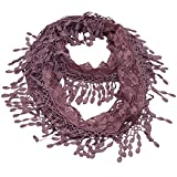 Girls Purple Solid Color Lace Edges Crochet Leafy Accents Circular Scarf