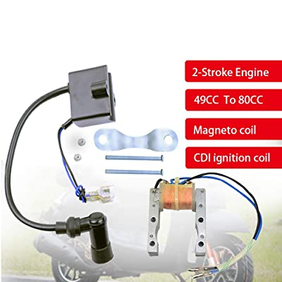 FLYPIG CDI Ignition Coil + Magneto Coil + Spark Plug for 49cc 50cc 60cc 80cc 2-Stroke Ignition Spark Plug Coil CDI Kit fits 49cc To 80cc Engines Motor Motorized Bicycle Bike (49cc-80cc): Automotive