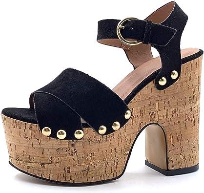 Angkorly Chaussure Mode Sandale Mule Plateforme Ouverte Femme lanière clouté Boucle Talon Haut Bloc 9.5 CM