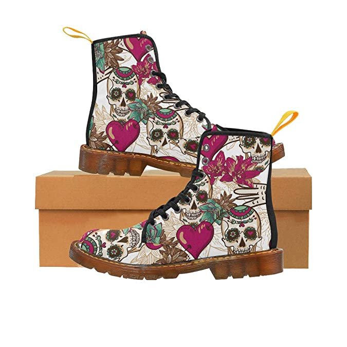 INTERESTPRINT Stripes Leopard and Zebra Chic Low Heel Lace Up Ankle High Boots for Women Girls