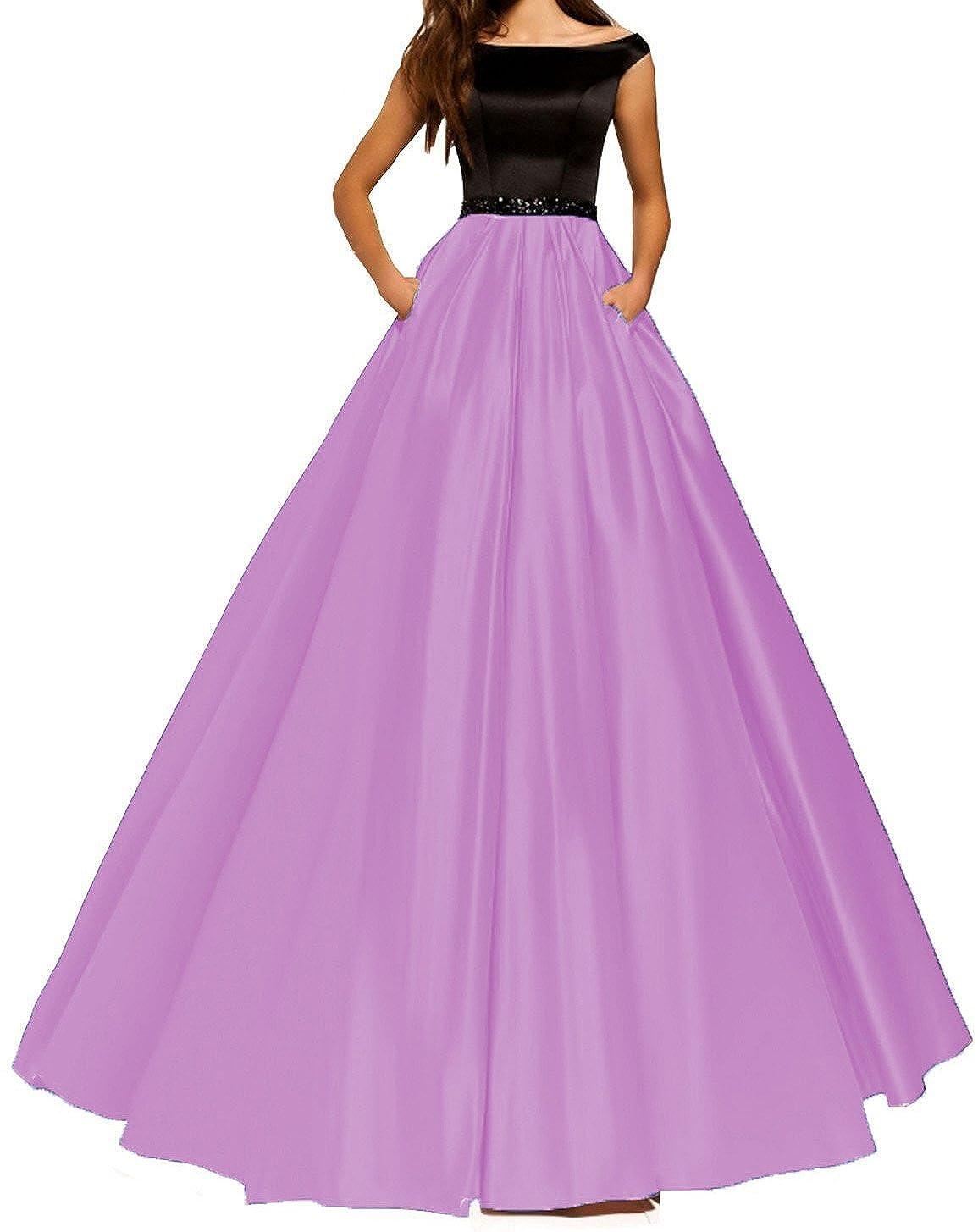 O.D.W Satin Lange Damen Formales Party Abendkleider mit Taschenkleid Ballkleider Vintage Brautkleider