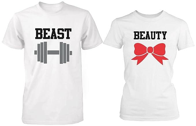 Belleza y la bestia - para su y su a juego color blanco camisetas para parejas: Amazon.es: Ropa y accesorios