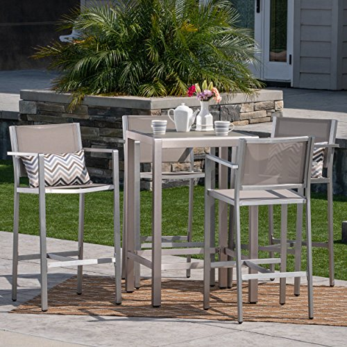 Christopher Knight Home Great Deal Furniture | Tracy Outdoor 5-Piece Rust-Proof Aluminum/Mesh Bar Set | with Glass Top Table | in Silver/Grey