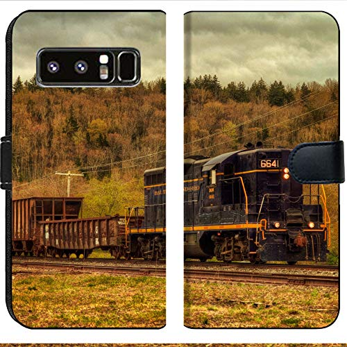 Samsung Galaxy Note 8 Flip Fabric Wallet Case Image of Train Transport Locomotive Engine Railroad Old Travel Smoke Transportation Railway Track steam Metal rai