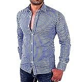 big data shoes - AmyDong Hot Sale Men's Plaid Shirts T-Shirt Male Long Sleeve Slim Fit Business Casual Shirt Polyester Black (M, Blue)