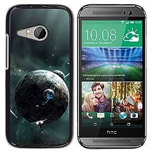 Qstar Arte & diseño plástico duro Fundas Cover Cubre Hard Case Cover para HTC ONE MINI 2 / M8 MINI ( Alien Planets Spaceships Future Universe Galaxy)