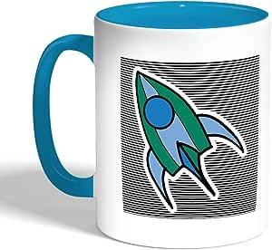 كوب سيراميك للقهوة، لون تركواز، بتصميم مكوك فضائي