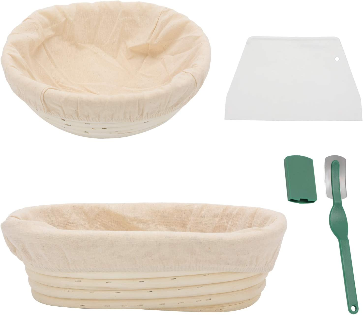 MorNon Bread Proofing basket Set of 2, 9 Inch Oval & 10 Inch Round Proofing Bowls with Dough Scraper, Bread Lame, Liners for Baking Proofing Home Sourdough Bakers Baking