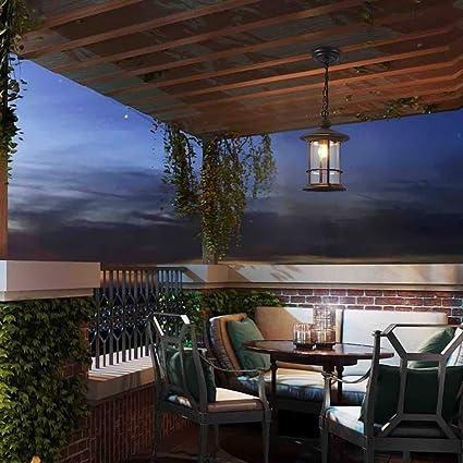 AXWT Araña impermeable al aire libre American Retro Vintage Balcón Corredor Luces colgantes Puerta Villa al aire libre Led Retro Jardín Lámpara colgante Lámpara de techo (Color : Black): Amazon.es: Iluminación