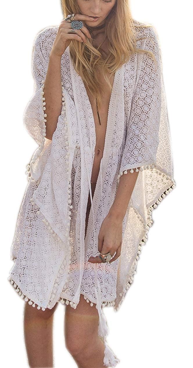 Damen Strandkleid Kimono lang Spitze Blumenmuster Bademode Bikini