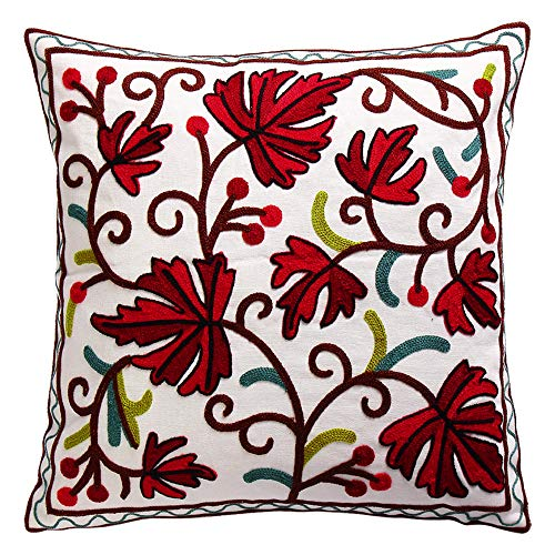 Oneslong Leaves Decorative Throw Pillows Covers Embroidered Red Cushion Cover Square Pillowcase 100% Cotton Home Decor for Sofa Couch Bedding 18 x 18 Inch