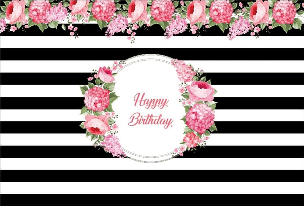 9x6ft Happy Birthday Backdrop Golden and White Stripes Polyester Photography Background Water Color Flowers Glitter Children Girl Woman Kids Party Banner Photo Props Studio Decor Wallpaper