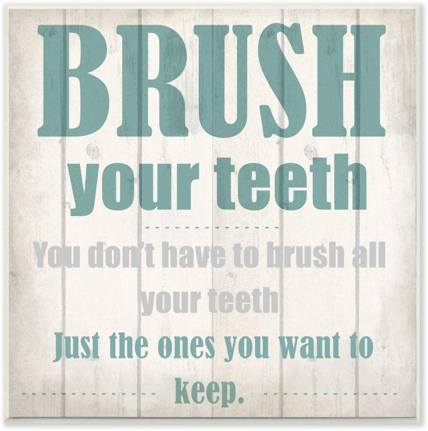 Stupell Industries Brush Your Teeth Funny Word Bathroom Wood Textured Design Wall Plaque, 12 x 12, Multi-Color