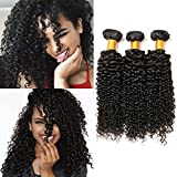 Jerry Curl Bundles Brazilian Tight Curly 3 Bundles 9a Unprocessed Remy 100% Human Hair Extension Double Weft Natural Black (16 18 20 Inches) Review