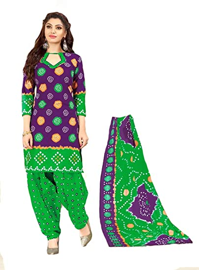eda8a77558 Shree Ganesh Retail Womens Bandhani Printed Churidar Material ...