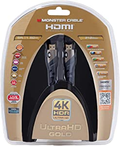 Monster HDMI Cable 4k Ultra HD 6ft with Ethernet - 60/120 Hz Refresh Speed - 21Gbps High Definition 1080p Video - Corrosion-Resistant 24k Gold Contacts