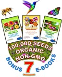 Wildflower Seeds Bulk + 7 BONUS Gardening eBooks + 100,000 Open-Pollinated Organic Flower Seed Mix Packets, Non-GMO, No Fillers, Annual, Perennial Flower Seeds for Fall Planting, Bees and Pollinators
