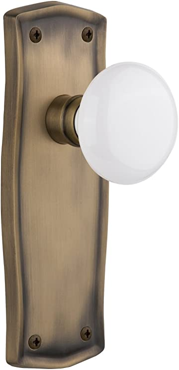 BRASS FINISH VINTAGE STYLE DOUBLE HOOK W// WHITE PORCELAIN KNOBS