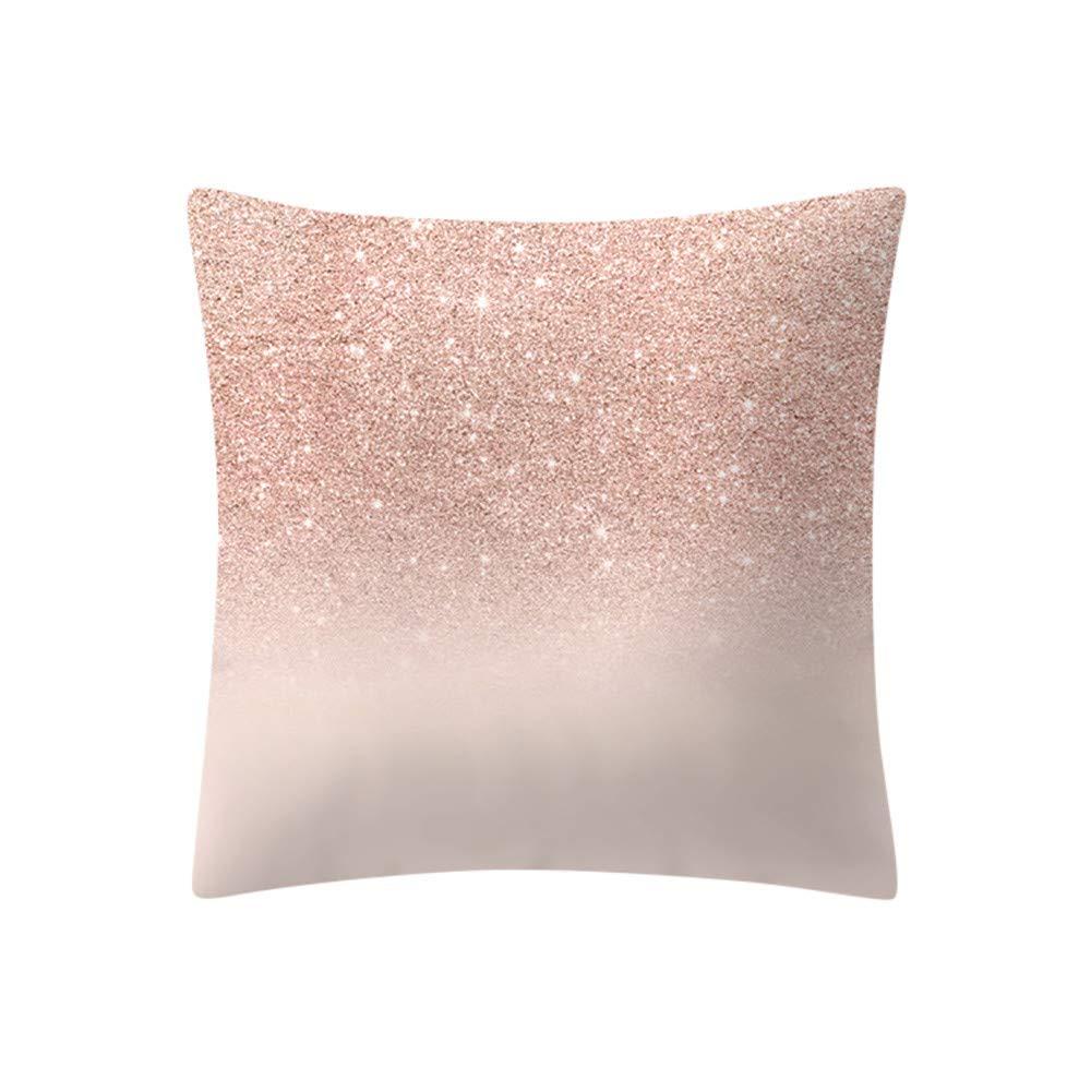Mome ʕ •ᴥ•ʔ Beautiful Square Pillowcas ʕ •ᴥ•ʔ 1 PC Rose Gold Pink Cushion Cover Square Pillowcase-Home Decoratio-Car Ornament -Bedroom Decoration (D)