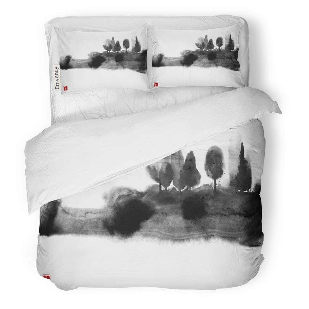 "Tarolo Bedding Duvet Cover Set Black Ink Wash Painting Misty Forest Trees on Traditional Oriental Sumi E U Sin Go Hua Hieroglyph Eternity 3 Piece Twin 68""x90"" Quilt Cover with Zipper Closure"