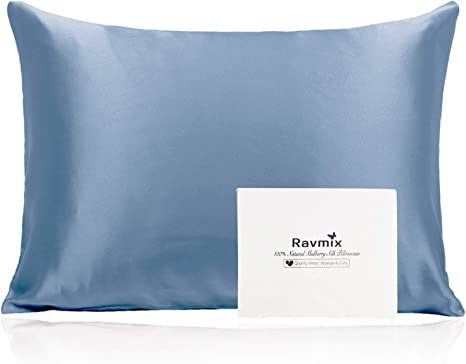 Amazon Com Ravmix 100 Mulberry Silk Pillowcase For Hair And Skin Standard Size With Hidden Zipper Both Sides 21 Momme 600tc Hypoallergenic Soft Breathable Silk 20 26inch 1pcs Flint Blue Home Kitchen