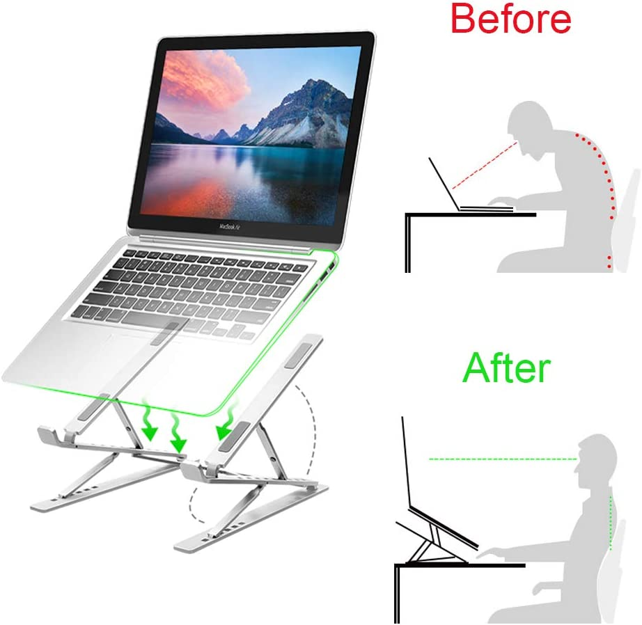 Laptop Stand, Aluminum Laptop Computer Stand Tablet Stand,Ergonomic Foldable Portable Desktop Holder Compatible with MacBook Air Pro, Mac Stands,Laptop Stand for Desk, 15 Positions Adjustable