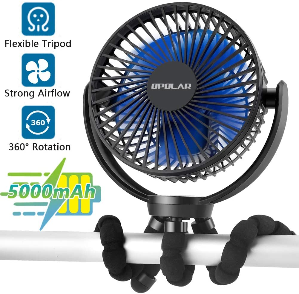 5000mAh Rechargeable Battery Powered Clip Fan with Flexible Tripod, Ultra Quiet, 3 Speed, 360° Rotatable, Portable Handheld USB Clip on Fan for Travel Office Room Outdoor Stroller Bike Car Seat