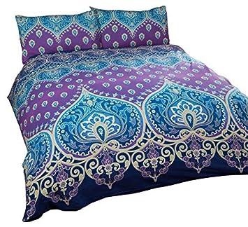 Indien Henna Style Bleu Violet Melange De Coton Taille Super King