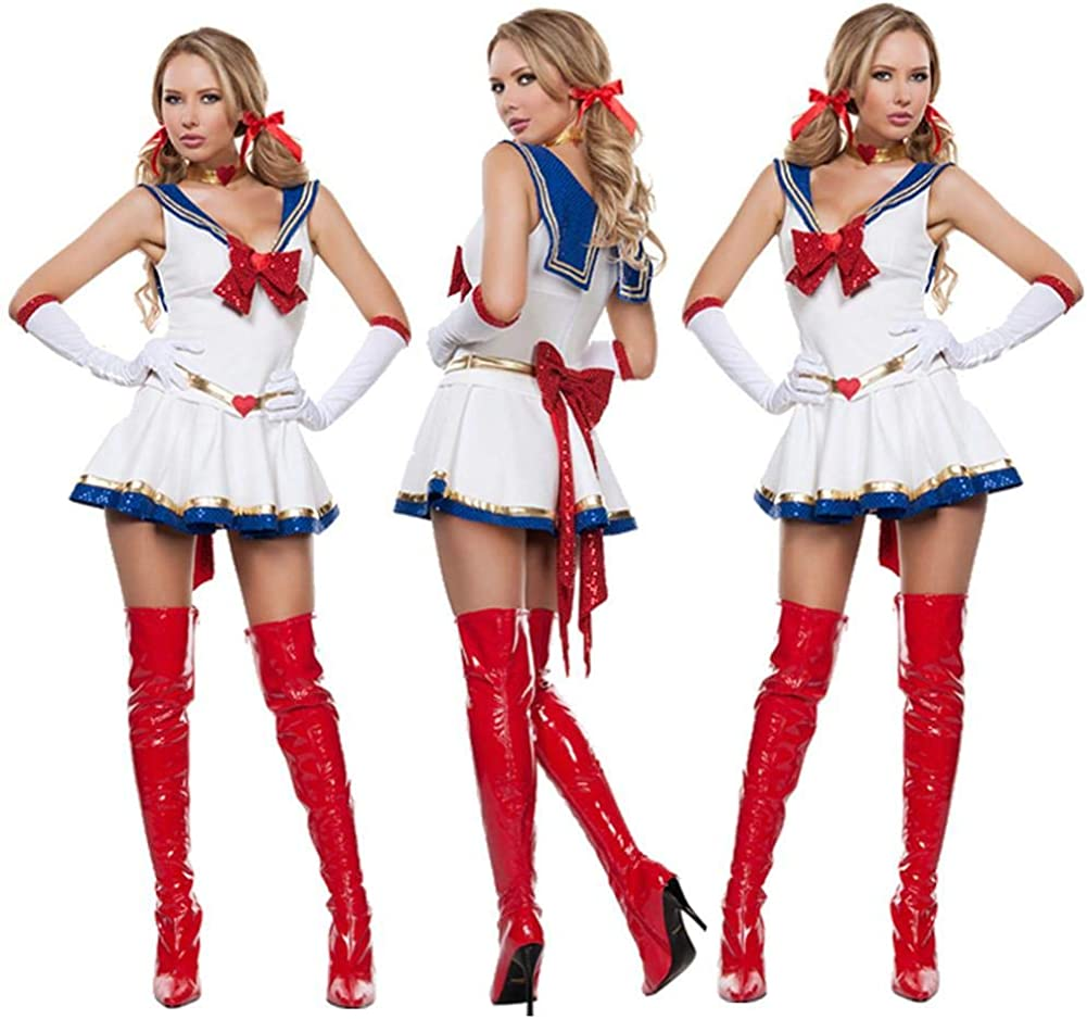 iBaste Moda Mujer 2018 Blanco Disfraz de Halloween Sexy Sailor ...