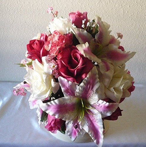 Fuchsia Ivory Rose Tiger Lily Bridal Wedding Bouquet & Boutonniere