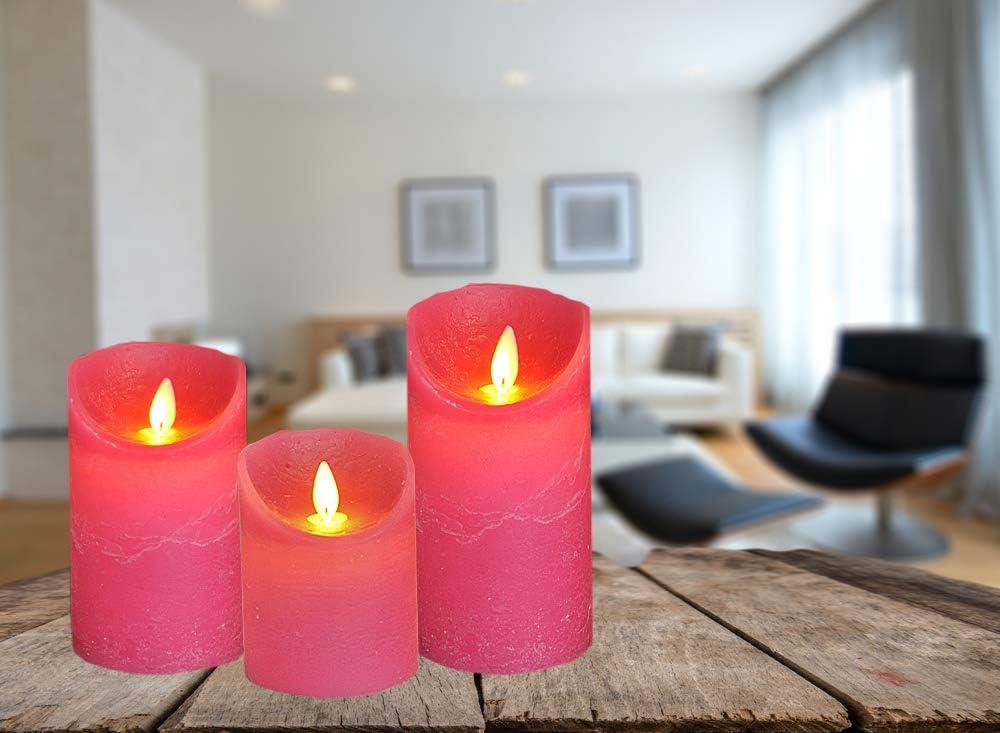 Farbe:Fuchsia Gr/ö/ße:10 cm LED Echtwachskerze Kerze viele Farben mit Timer flackender Docht Wachskerze Kerzen Batterie