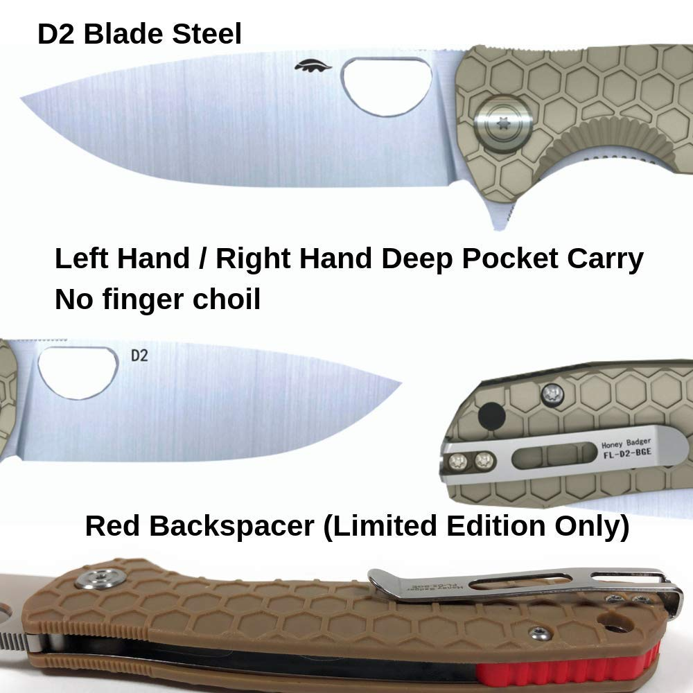 Western Active Honey Badger Pocket Knife Flipper EDC Knife for Hunting, Fishing, Tactical. Deep Pocket Carry Clip Gift Box with Torx Wrench (Tan-D2, Large 3.98oz - 4.6'' Closed - 3.63'' Blade) by Western Active (Image #1)