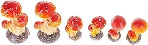 DOITOOL 6pcs Mini Mushroom Fairy Garden Miniature Figurines Mushroom Resin Figures for Garden Ornaments Plant Pots Bonsai Crafts Micro Landscape Decoration