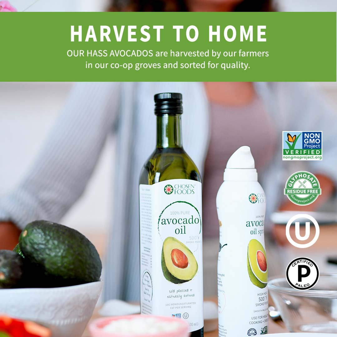 Chosen Foods 100% Pure Avocado Oil 16.9 oz., Non-GMO for High-Heat Cooking, Frying, Baking, Homemade Sauces