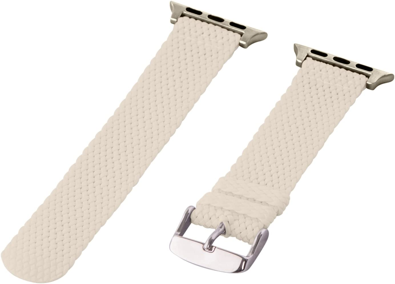 Clockwork Synergy - 2 Piece Perlon Braided Nylon Bands for Apple Watch (42mm White)