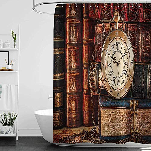 (Shower Curtains Brown and Teal Antique,Nostalgic Classic Pocket Watch on The Background of Old Books Dated Archive Photo,Multicolor W72 x L72,Shower Curtain for Bathroom)