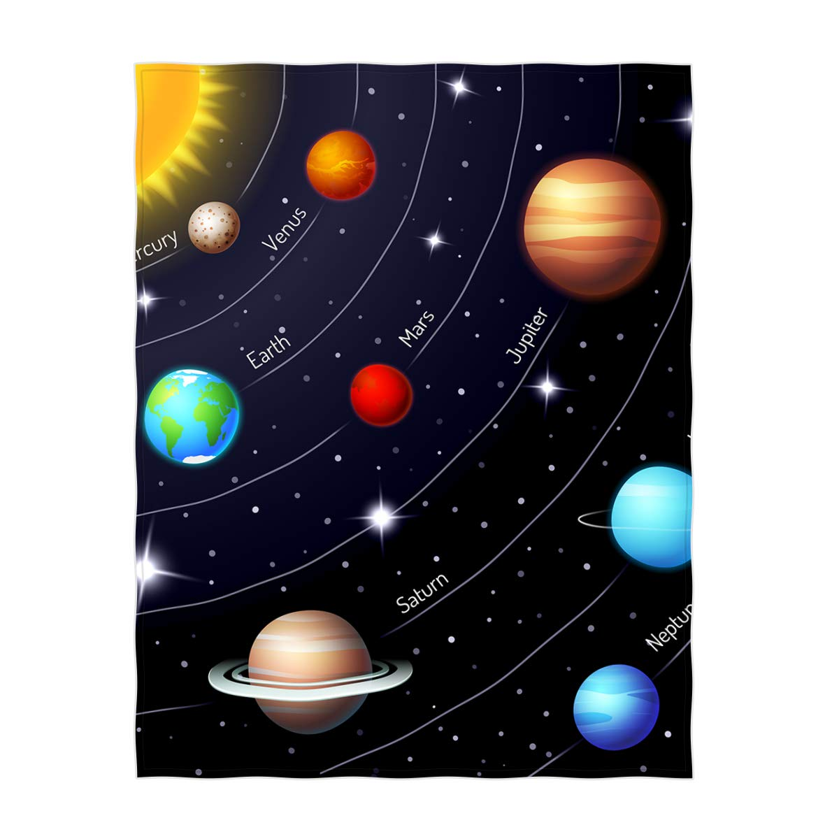 QH 60 x 80 Inch Solar System Pattern Super Soft Throw Blanket for Bed Sofa Lightweight Blanket Throw Size for Kids Adults All Season