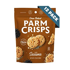 ParmCrisps Sesame, Keto Snacks, 1.75 Oz (Pack Of 12), 100% Cheese Crisps, Gluten Free, Sugar Free, Keto-Friendly